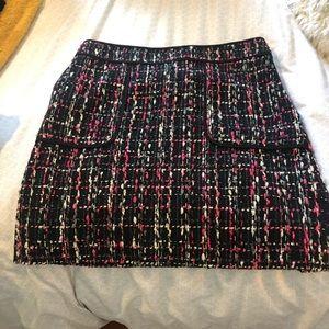 Pink and black tweed mini skirt